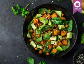 Avocado, quinoa, roasted sweet potato