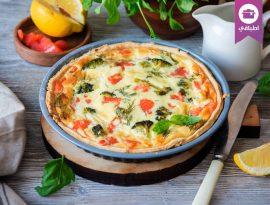 Salmon and broccoli quiche tart